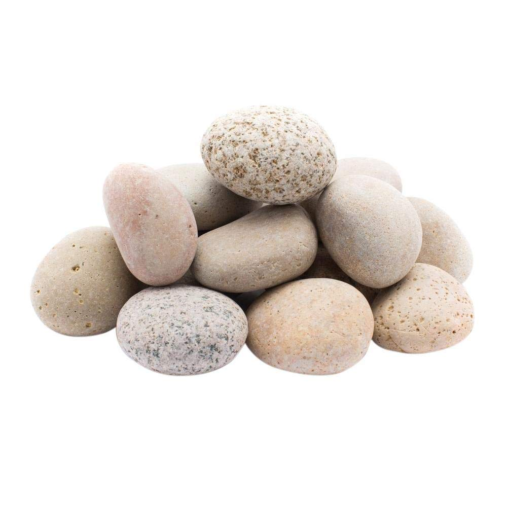 LF Inc. 50 Lb. Premium Large Buff Mexican Beach Pebbles 3-5 inches, Decor, Garden, Landscape (50)