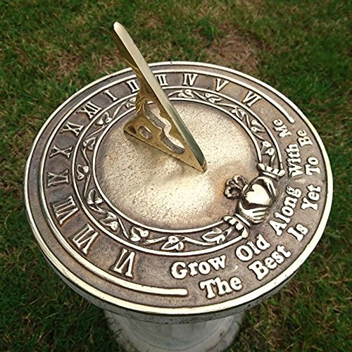 Brass Happiness Sundial - NAUTICALMART Grow Old Along with Me Sundial