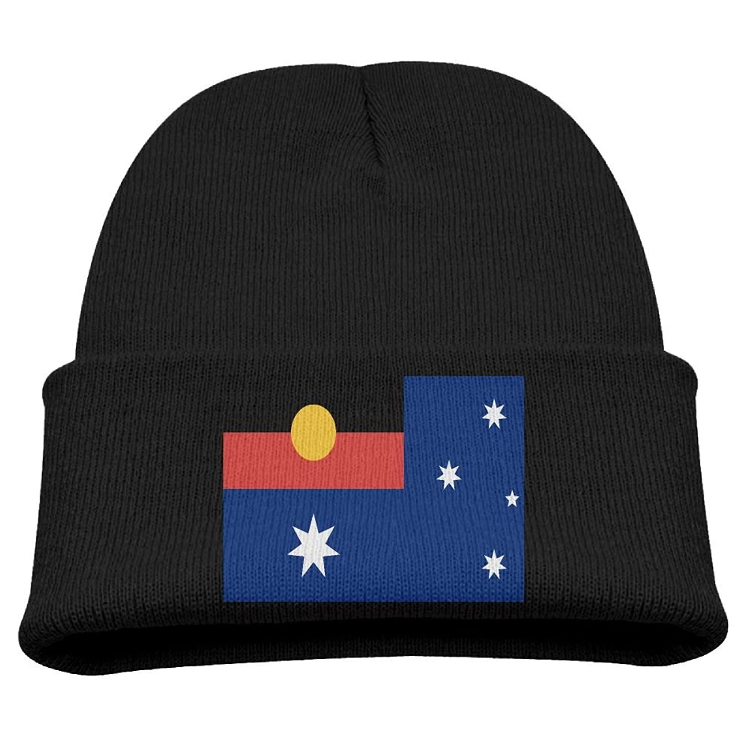 c576f9bd283441 ZWZ Australian Flag With Aboriginal Flag Kid's Hats Winter Funny Soft Knit  Beanie Cap Children Unisex