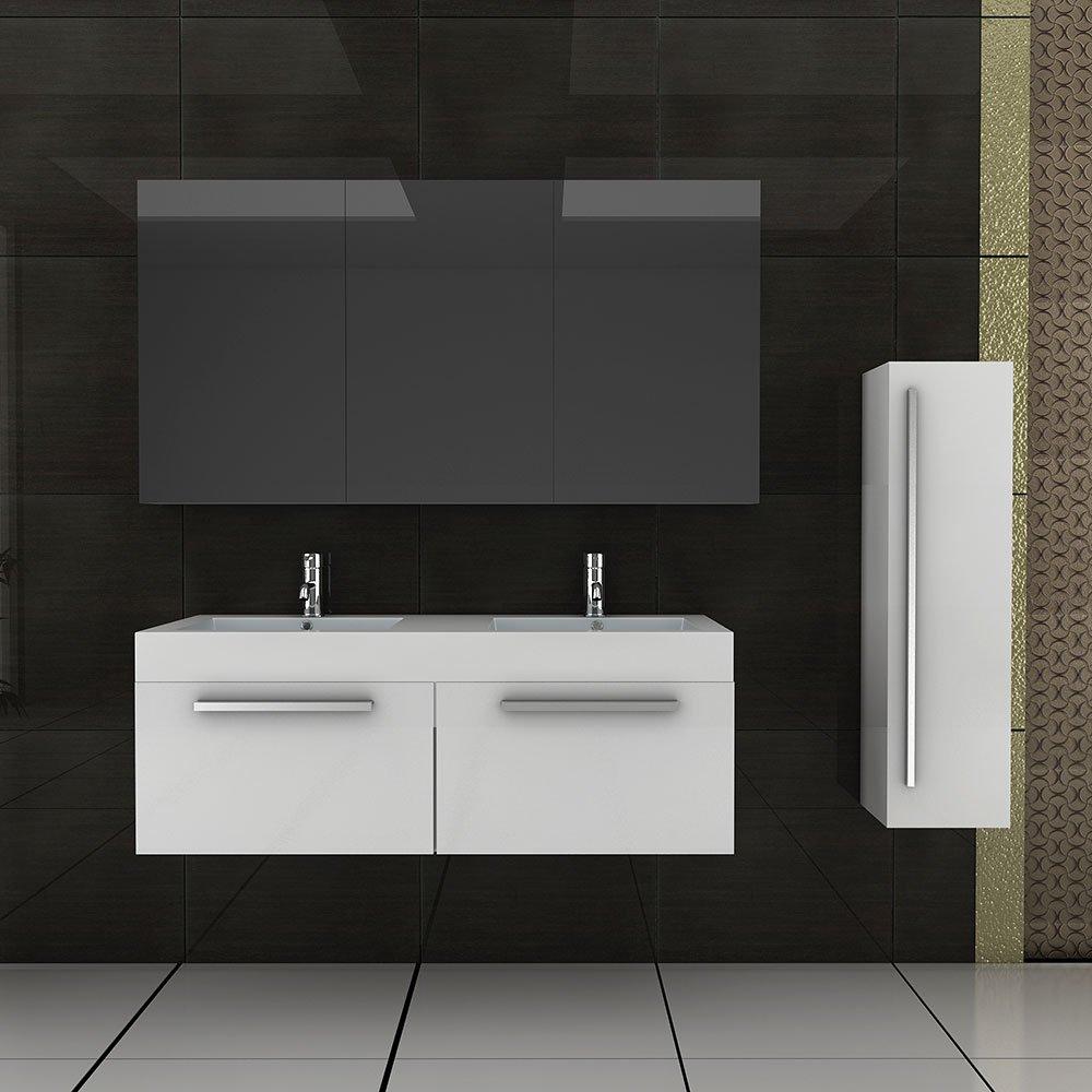 Doppel Waschtisch Badmöbel Set mit Spiegelschrank Weiss hochglanz ... | {Doppelwaschtisch mit unterschrank und spiegelschrank 80}