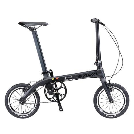 SAVADECK 14 Bicicleta Plegable Marco de Fibra de Carbono Fixed Gear Sola Velocidad Fixie Urban Track Bike Mini Ciudad Bicicleta Plegable con Luces: ...