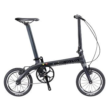 SAVADECK 14 Bicicleta Plegable Marco de Fibra de Carbono Fixed Gear Sola Velocidad Fixie