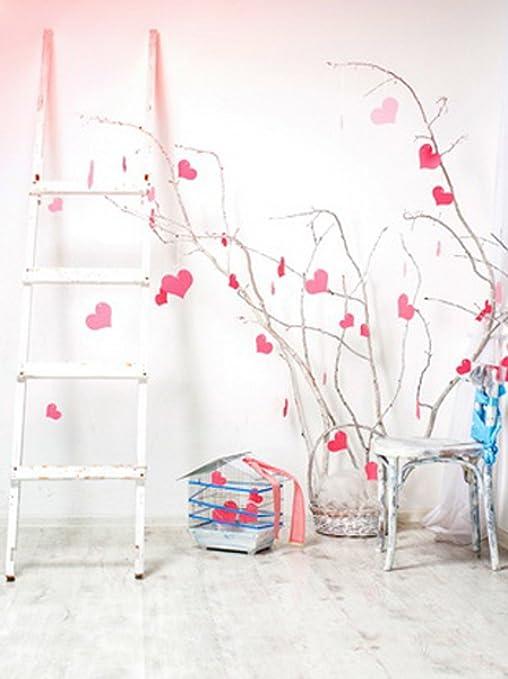 8 x 10 pies Sweet Valentine fondo interior fotografía madera escalera silla con corazón rosa adorno interior simple blanco pared ropa tiro para los amantes: Amazon.es: Electrónica