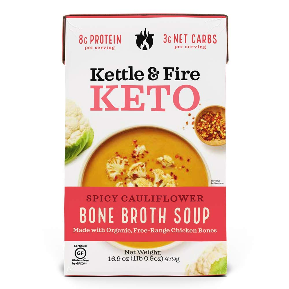 Kettle and Fire Spicy Cauliflower Keto Soup, Keto Friendly, Gluten Free, High in Protein and Collagen, 1 Pack