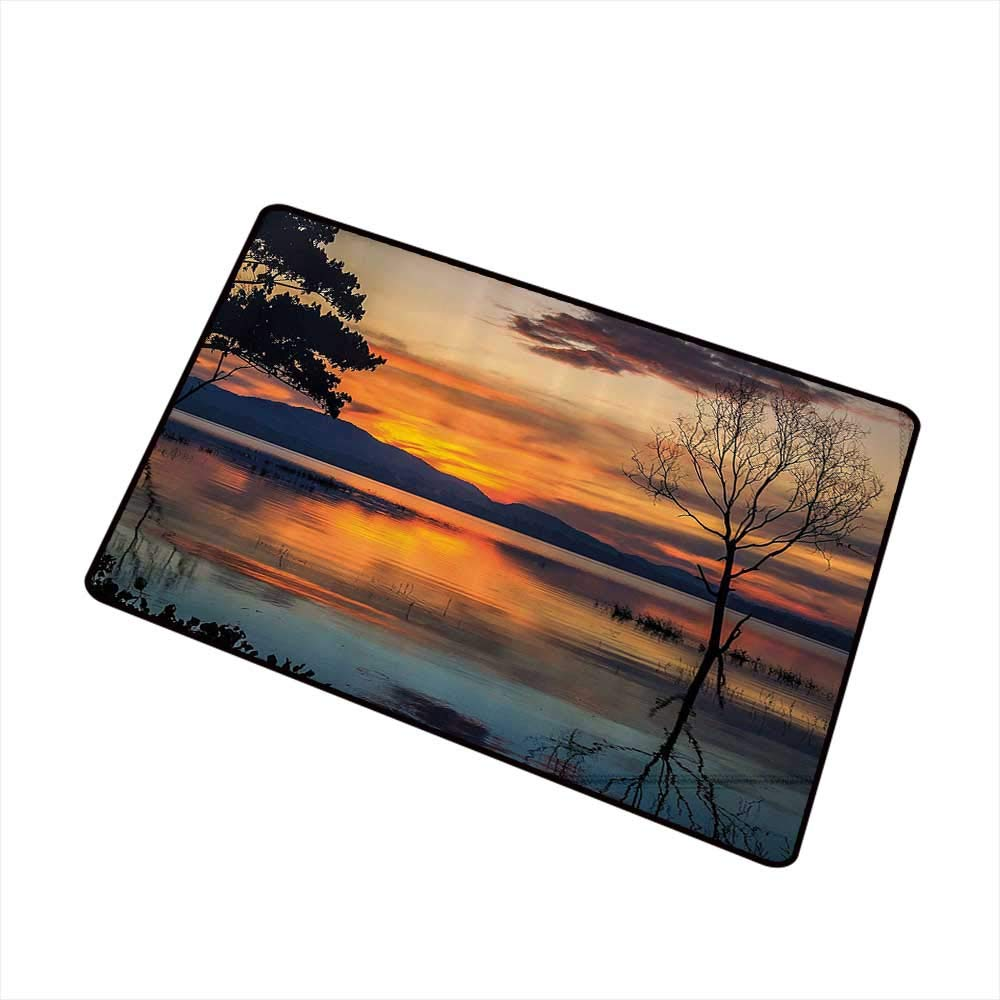 Thin Door mat Nature Morning Sunrise by The Lake Horizon Sky Dawn Idyllic Tranquil River Scenery W35 xL47 Machine wash/Non-Slip Orange Blue Grey by Mdxizc