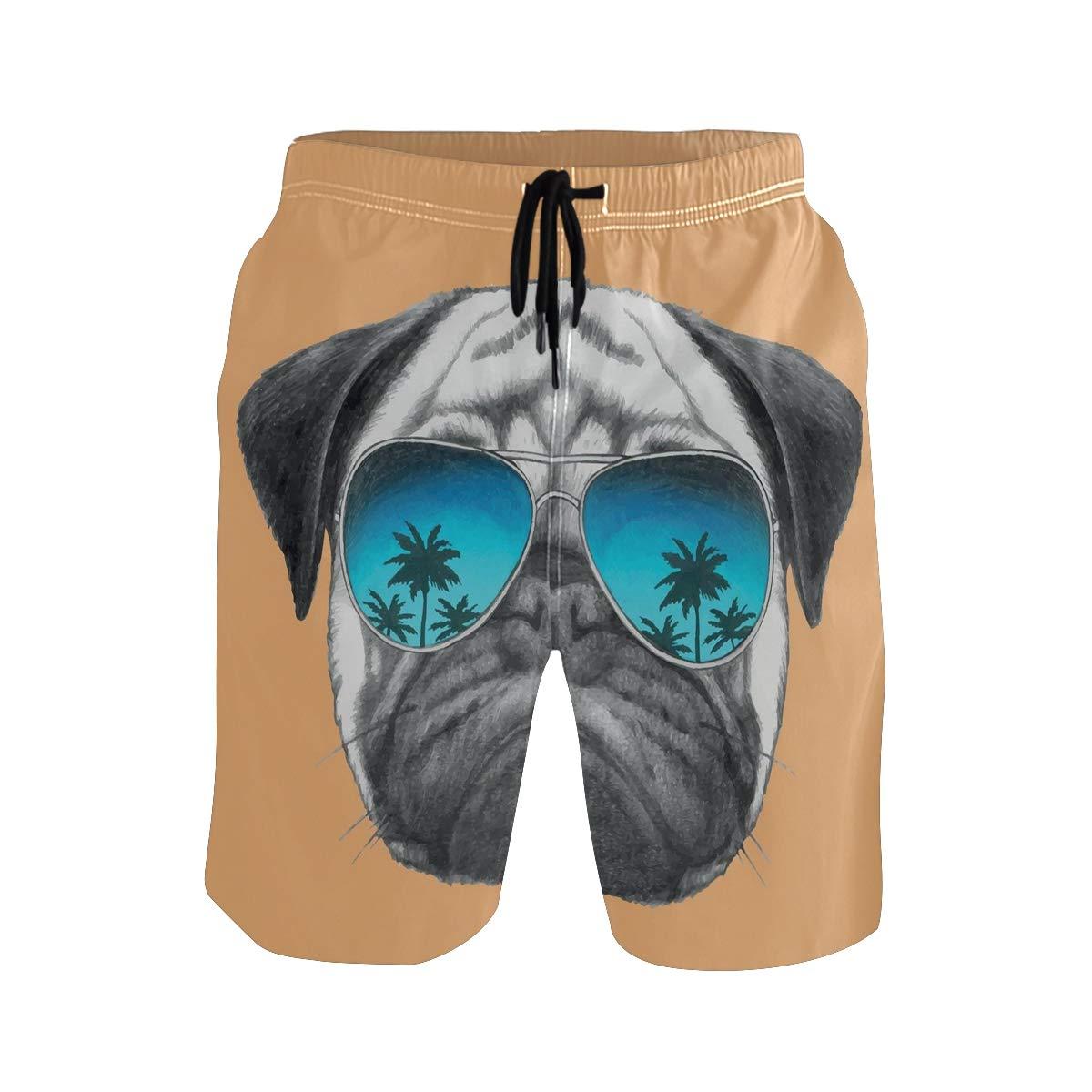 COVASA Mens Summer ShortsDog with Reflecting Aviators Palm Trees Tropical Envi