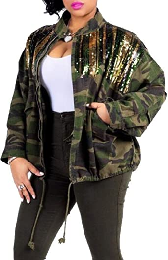 veste kaki avec couleur et pailllettes femme
