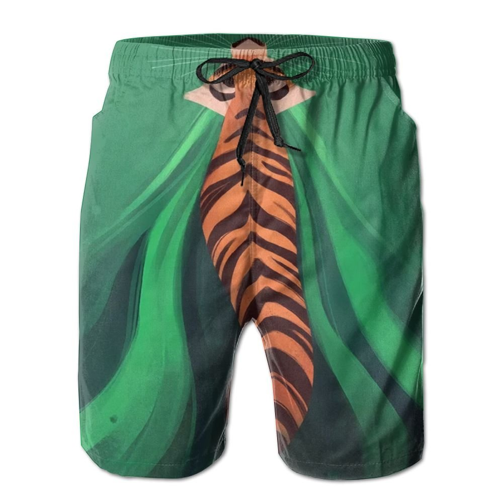 Jungle Tiger Summer Casual Style Adjustable Beach Home Sport Shorts