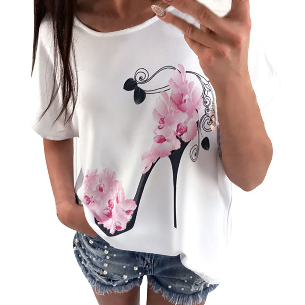 wodceeke Women Short Sleeve Round Neck Blouses High Heels Printed Tops Beach Casual Loose T-Shirt(White,XL)