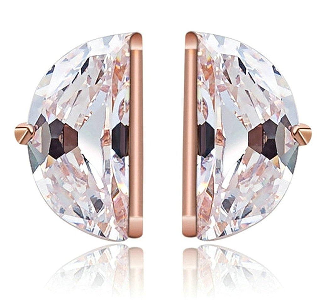 KnSam Women Rose Gold Plate Pierced Stud Earrings Half Match Crystal Rhinestone White Novelty Earrings