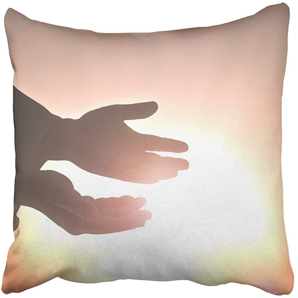Throw Pillow Cover Square 18x18 Inches Church Healing From God Silhouette Christian Open Spiritual Hands with Palms Up Over Blurred New Polyester Decor Hidden Zipper Print On Pillowcases