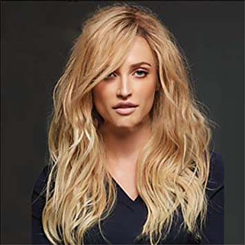 TBWIGA Long Wave Synthetic Womens Wigs Natural Blonde Color Hairstyle Pelucas Heat Resistant Hair