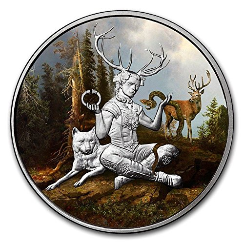 - FICTION ART: CELTIC LORE Cernunnos FOURTH RELEASE 1 OZ SILVER COIN #COA PROOF ANONYMOUS MINT