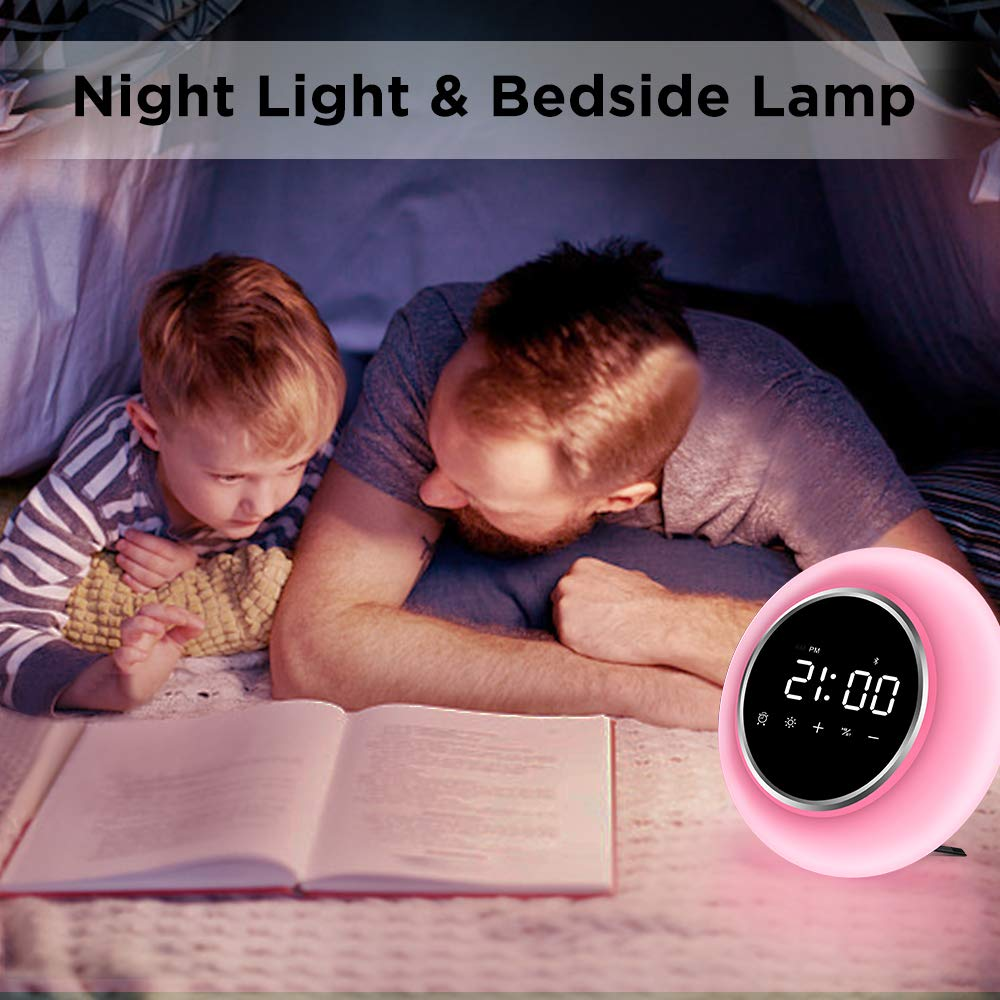 KZY Wake Up Light Alarm Clocks, Kids Alarm Clock Sleep Aid Night Light for Bedrooms, 9 Colors Bluetooth Speakers for Party, Festival