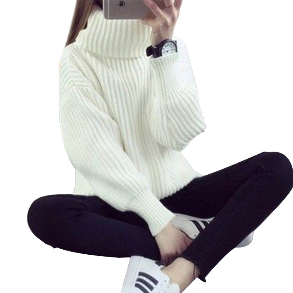 LISASTOR Women's Fashion Warm Loose Oversized Pullover Turtleneck Knitted Sweater