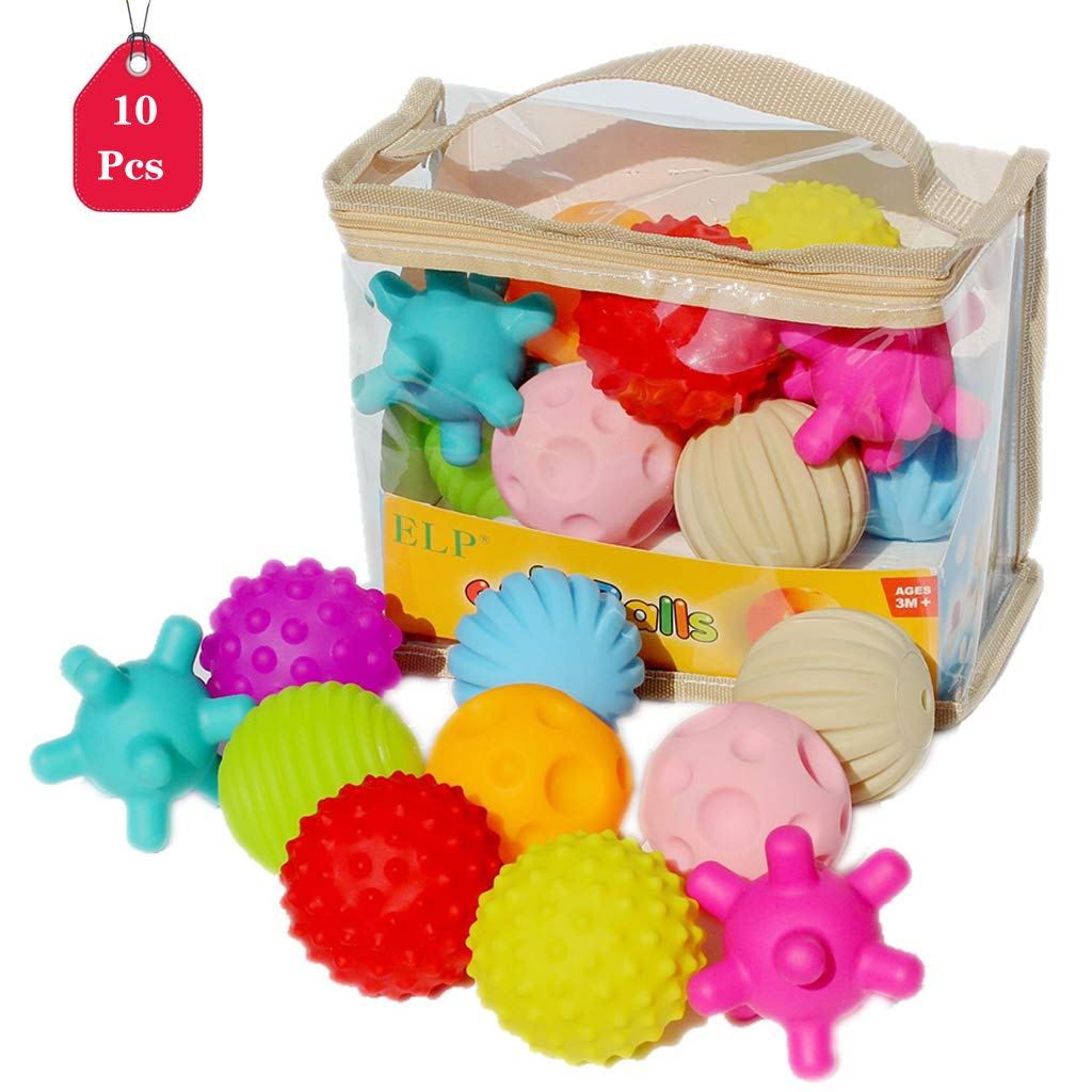 Kicpot 10pcs Sensory Balls, Soft Textured Multi Ball Set Fidget Toys Squeezy Squishy Bouncy Kids Balls for Toddlers and Baby