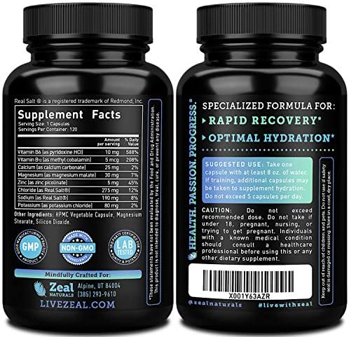 Keto Electrolyte Supplement 120 capsules Electrolyte Tablets w Real Salt , B Vitamins, Magnesium and Potassium Supplements – Electrolyte Powder Salt Pills Electrolyte Drink Hydration Tablets