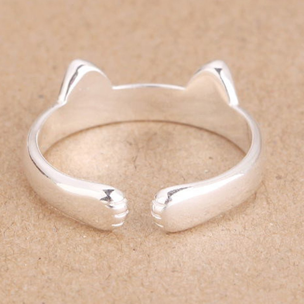 Amazon.com: Hosaire Womens Cute Cat Ears Ring Adjustable Opening Silver Elegant Ring for Womens Jewelry: Kitchen & Dining