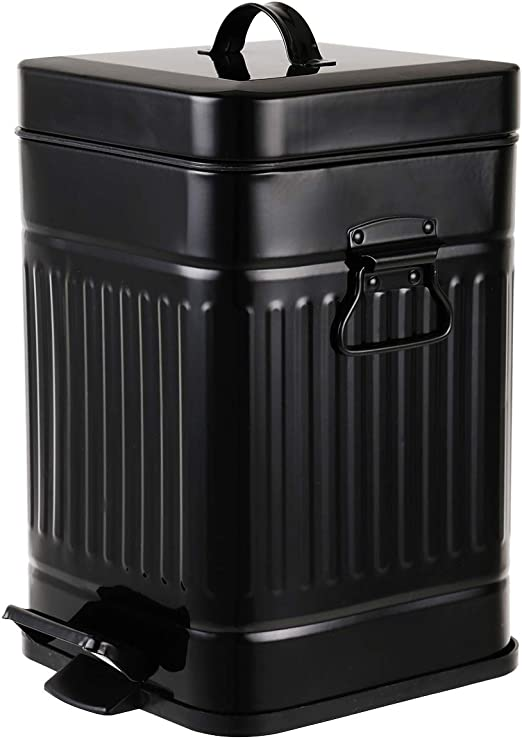 Amazon Com Bathroom Trash Can With Lid Small Black Wastebasket For Home Bedroom Retro Step Garbage Can With Soft Close Vintage Office Trash Can 5 Liter 1 3 Gallon Glossy Black Home Kitchen