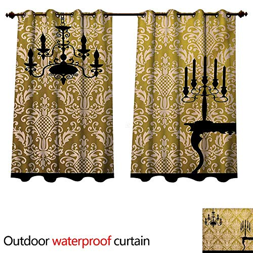 ins for Patio Sheer English Country House Damask Motif on Wall and Chandelier Silhouettes Renaissance W108 x L72(274cm x 183cm) ()