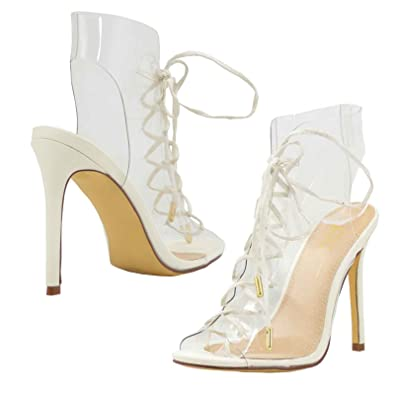 06db6d91120a Olivia and Jaymes Clear Transparent Open Toe Lace Up High Heel Gladiator Ankle  Strap Buckle Sandals