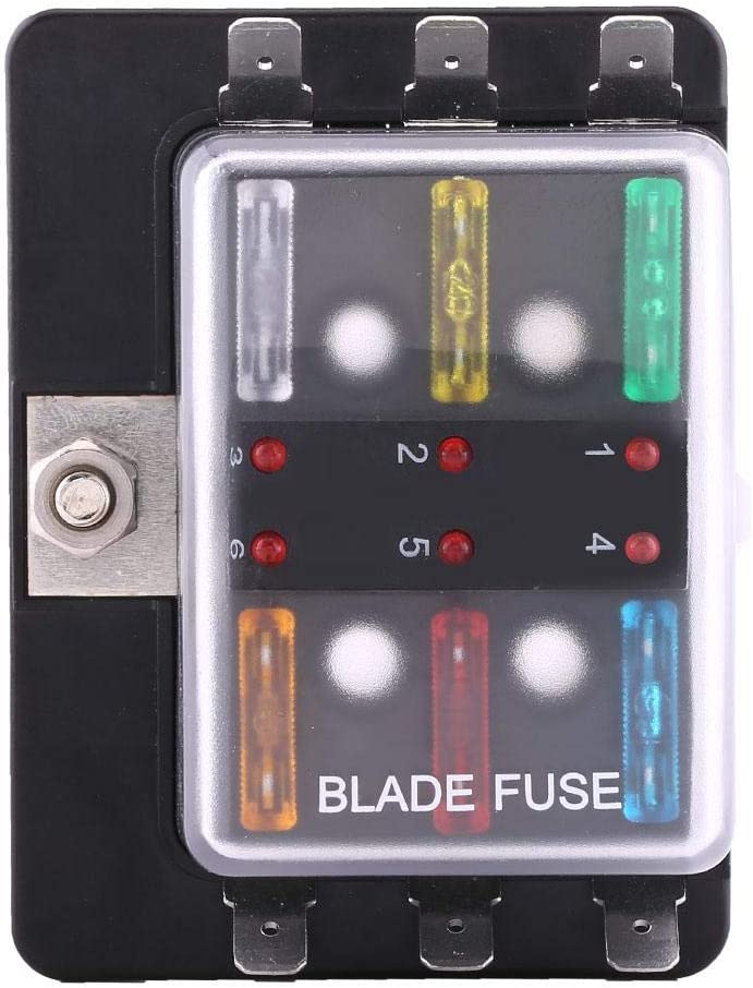 Blade Fuses 6 Way Circuit Blade Fuse Box Block Holder With LED Warning Light Kit For Car Van Boat Marine