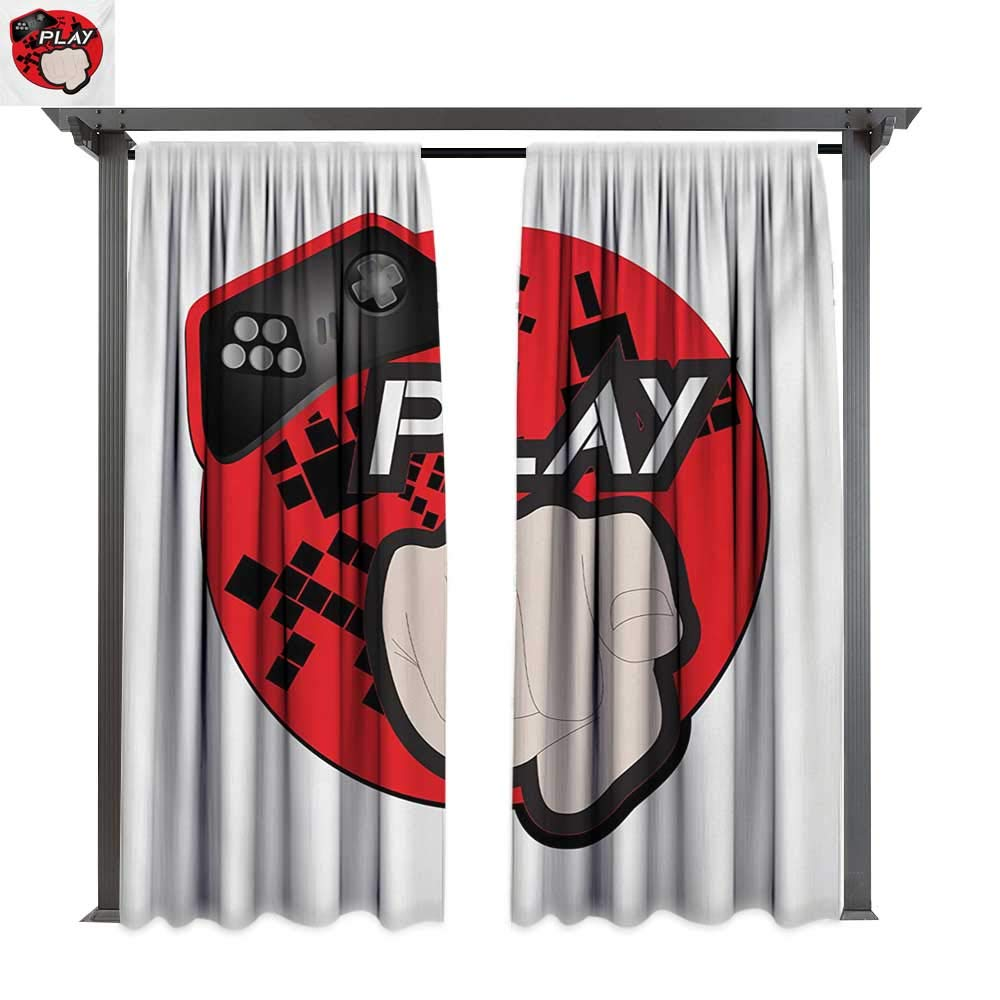 Marina Lea Fashions Drape, Gaming Illustration with Play Quote and Pointing Finger Abstract Squares Design, Outdoor Curtain Waterproof Drape (W84 x L108 Inches Cream Black Red)