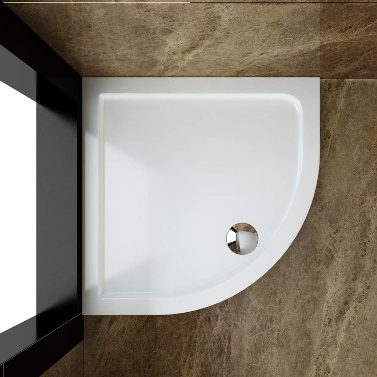 SONNI Duschwanne 80x80 cm flach inkl.Ablaufgarnitur-01 Wei/ß Duschtasse
