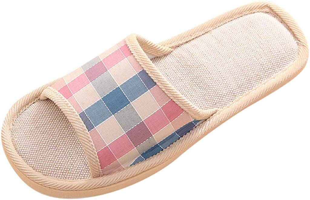 Womens//Mens Home Slippers Soft Cotton Linen Casual Indoor Outdoor Slip on Open-Toe House Travel Shoes