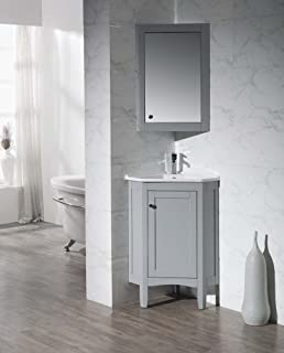 Stufurhome TY 650GY Modern Monte Corner Bathroom Vanity With Medicine  Cabinet, Grey, 25