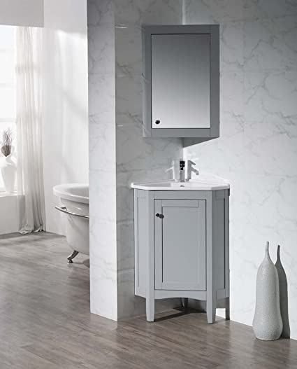 Bon Stufurhome TY 650GY Modern Monte Corner Bathroom Vanity With Medicine  Cabinet, Grey, 25u0026quot