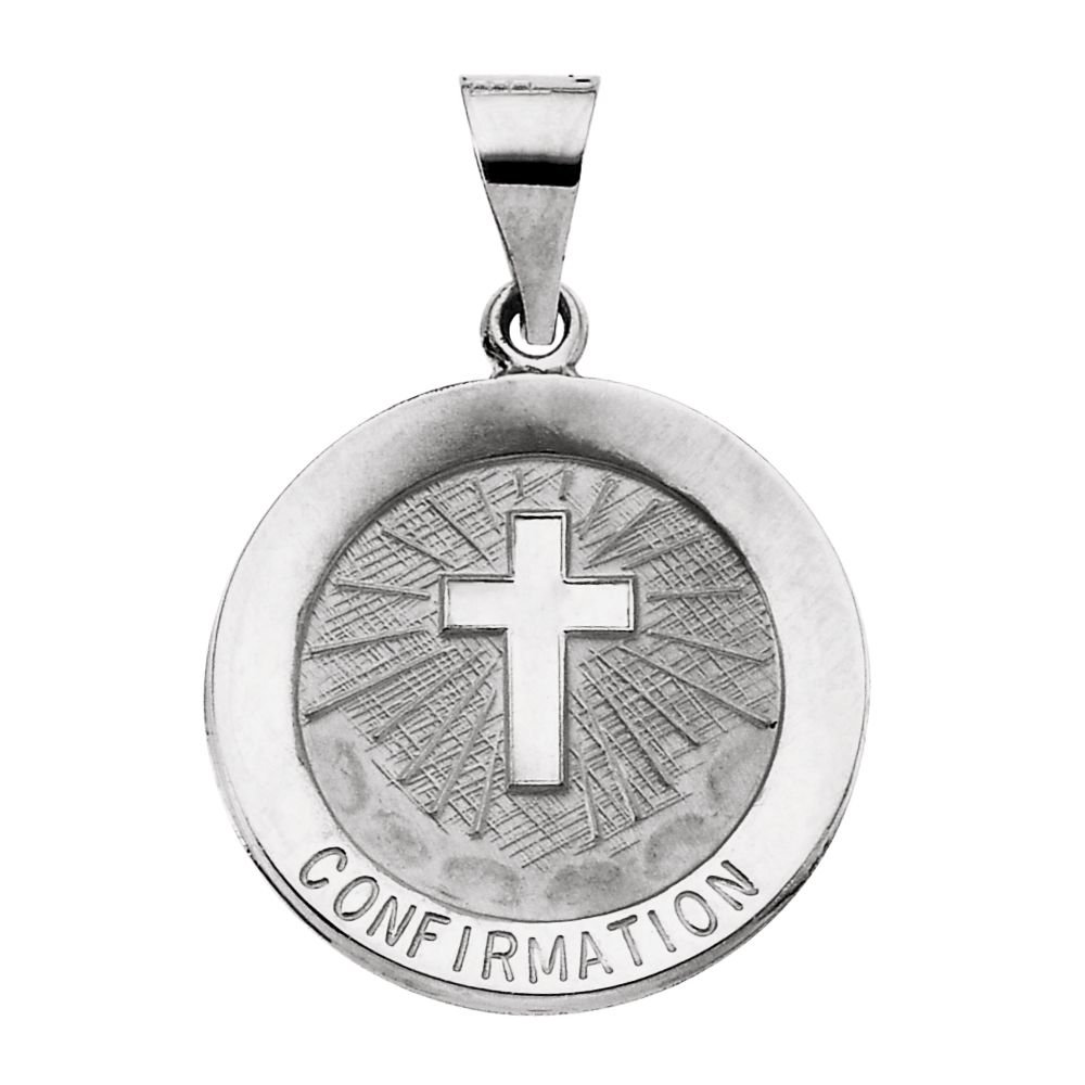 FB Jewels 14k White Gold 18mm Hollow Confirmation Medal