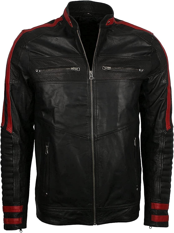Chaqueta de cuero para hombre, color negro y rojo, ajuste delgado, para motociclista, estilo vintage, para motocicleta, Cafe Racer
