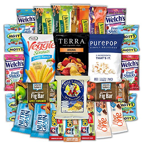 CollegeBox - Healthy College Care Package - Granola bars, fruits snacks, popcorn, veggie chips, and more! Variety Assortment Bundle (25 Count) (Healthy Easter Baskets For Kids)