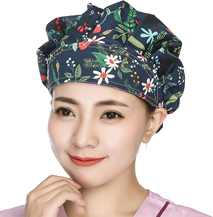 Unisex Doctor Nurse Scrub Cap Medical Surgical Printing Bouffant Hat