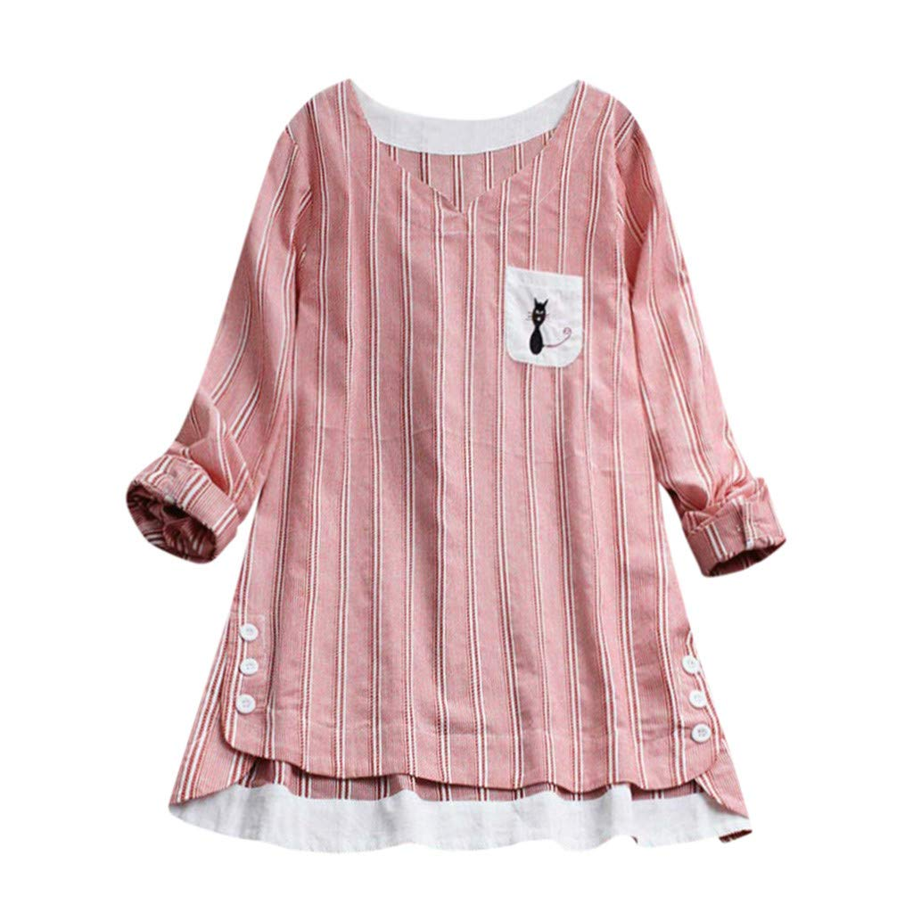 Willow S Women Fashion Casual Striped Cat Print Pocket Embroidery T-Shirt Long Sleevel Loose Tops Blouse