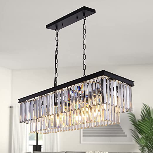 Wellmet 9-Light Crystal Chandelier 34.5 inch, Contemporary Modern Chandeliers Adjustable for Living Room, Dining Room, Pool Table Light, Kitchen Island Lighting