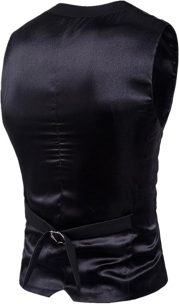 MAGE MALE Mens Suit Vest V Neck Slim Fit Single Breasted Solid V-Neck Lapel Business Dress Waistcoat