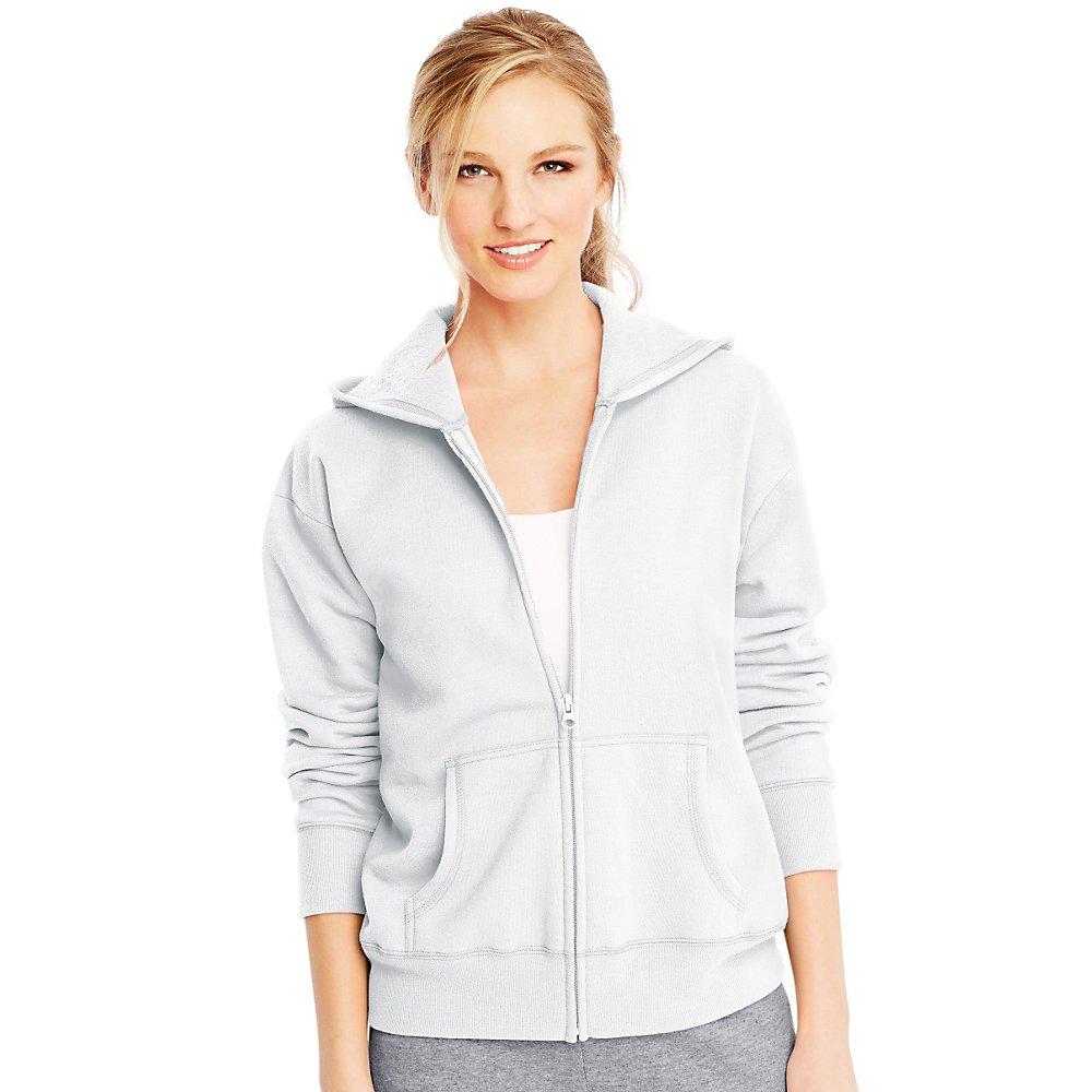 Von ComfortSoft EcoSmart Frauen Full-Zip Hoodie Sweatshirt_Weiß_2XL