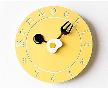 Mosmat home Reloj de Pared, Lindo de Dibujos Animados Tortilla Tenedor Cuchara Puntero muda niños habitación Cocina vivero Colgante Relojes Pared decoración ...
