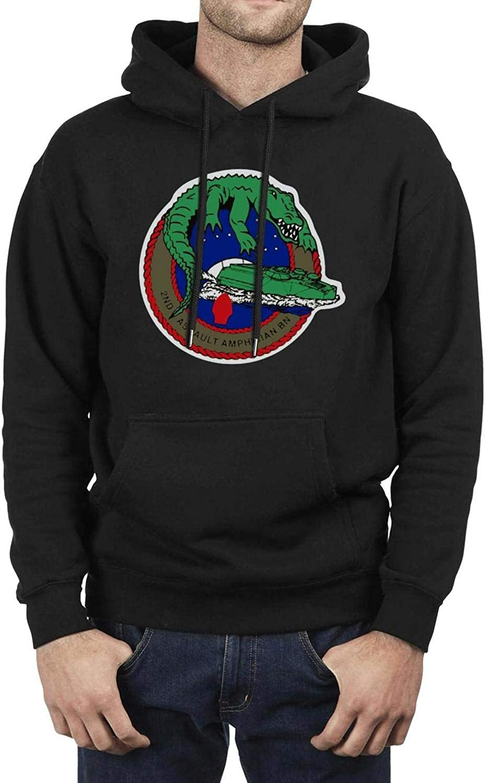 LQIAO Mens Hoodie 2nd Assault Amphibian Battalion Cotton Comfortable Big Pockets Hooded Sweatshirt