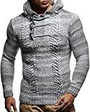 Leif Neslon LN20743 Men's Knitted Pullover with a Hood; Size L, Grey