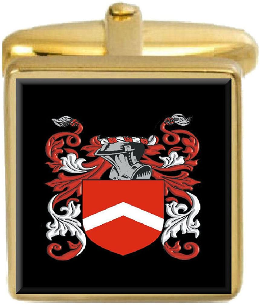 Select Gifts Colton England Family Crest Surname Coat Of Arms Gold Cufflinks Engraved Box