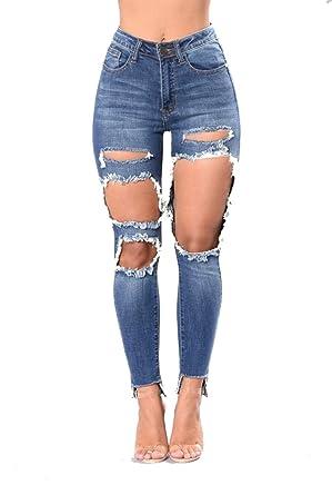 Damengxiang Frauen Enge Jeans Knie Löcher Alte Waschen Hohe Stretch
