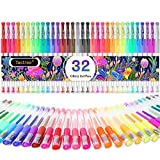 Glitter Gel Pens, 32 Colors Neon Glitter Pens Colored Pens Fine Tip Art Markers Set with 40% More Ink for Adult Coloring Books, Drawing, Doodling, Scrapbooking, Crafts, Bullet Journals