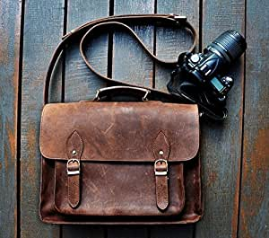 SC Leather DSLR Camera Bag 15.6-Inch Laptop Briefcase; Shoulder Bag Messenger Satchel; Removable Insert; Fits Professional Size DSLR with Lens for Canon Nikon Sony
