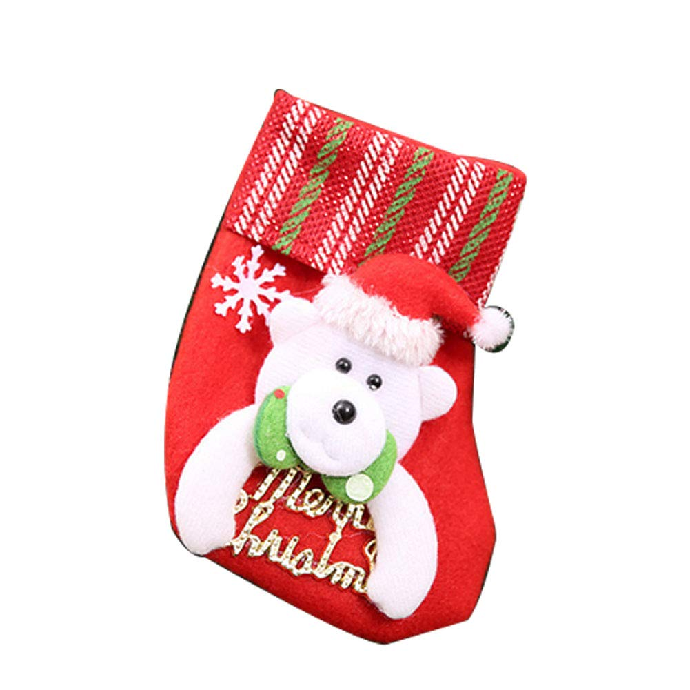 YaptheS Mini Christmas Stockings Little Christmas Stockings Gift and Treat Bags Christmas Hanging Socks for Xmas Tree, Home, Garden Decor (Bear Style) Christmas Gift