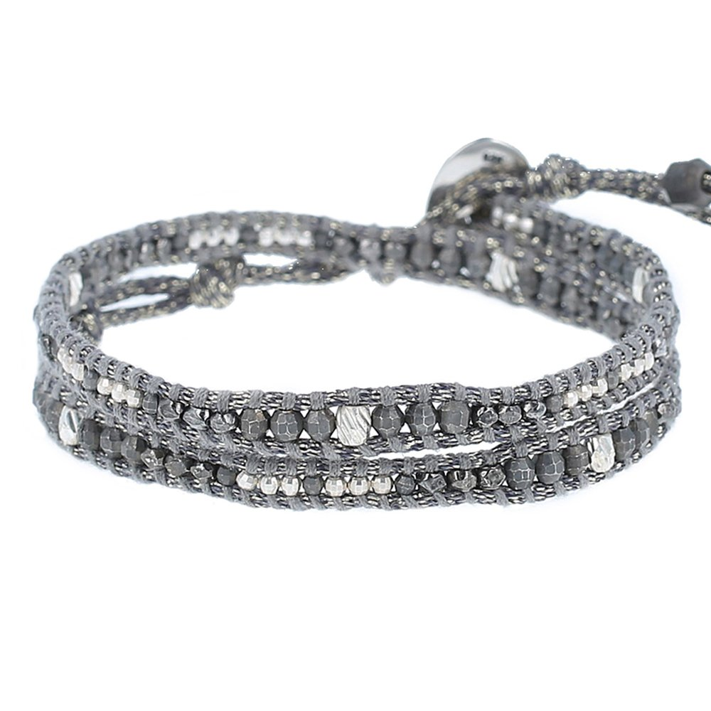 Chan Luu Dark Grey Metal Bead Double Wrap Bracelet on Mokuba Cord