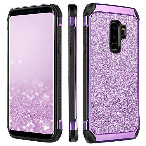 Galaxy S9 Plus Case, Samsung S9 Plus Case, BENTOBEN Luxury Bling Slim Hybrid Hard PC with Sparkly Faux Leather Chrome Shockproof Protective Phone Case for Samsung Galaxy S9 Plus for Girls/Women,Purple