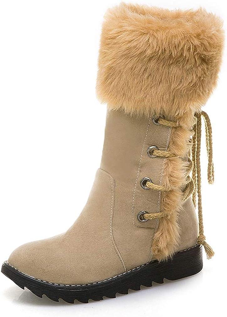 JOYBI Women Faux Fur Winter Mid-Calf Boot Pu Leather Waterproof Casual Round Toe Warm Platform Snow Boots